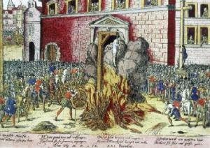 Incisione seicentesca raffigurante la modalità in cui venivano giustiziate le streghe.
